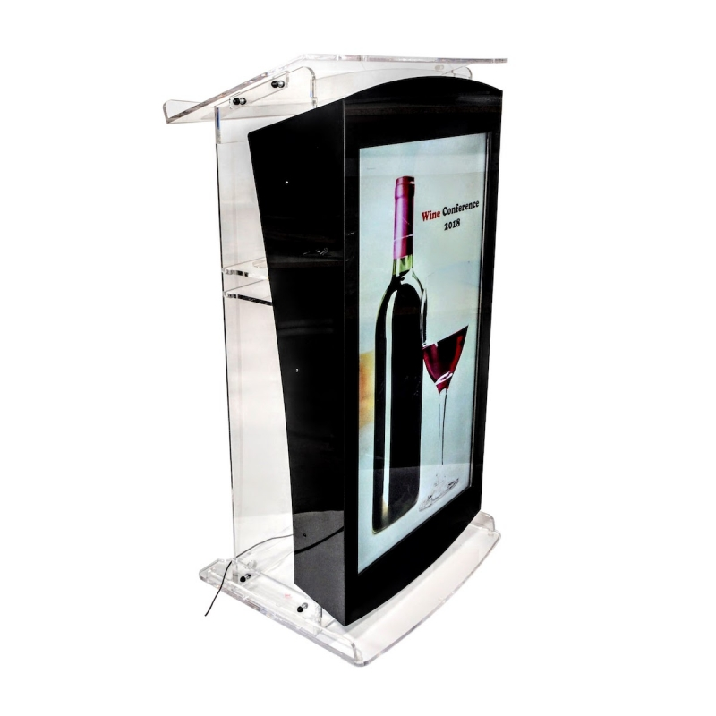 Pupitru digital din plexiglas cu televizor